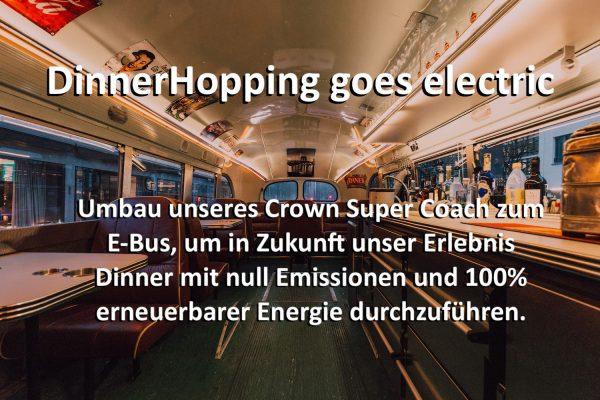 Crowdfunding, E-Mobilität. Umabu zum Elektrobus, E-Mobilität, Umweltschutz, Nachhaltigkeit, München Co2 neutral bis 2030, E-Antrieb, Erlebnisdinner, Bustour in München. Live Act, Sänger, Zauberer, unvergesslich, Erlebnisgeschenk