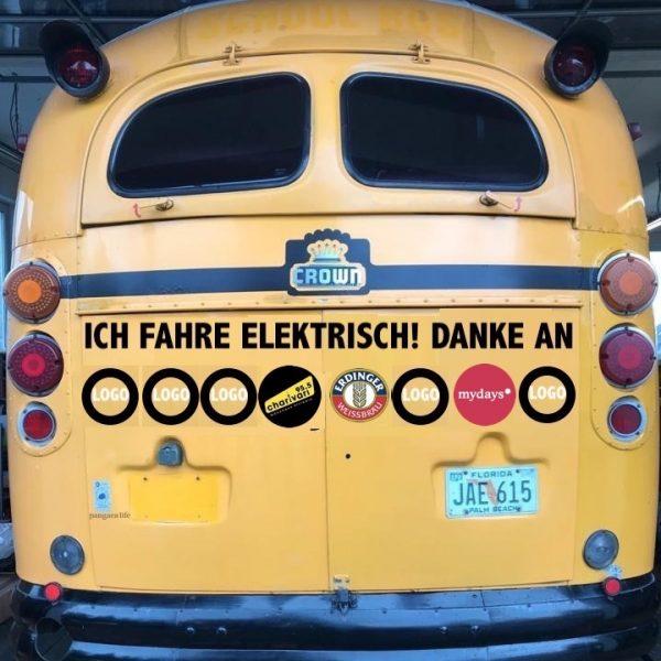Heck DinnerHopping Bus Crown Super Coach Logos Werbung US School Bus gelb